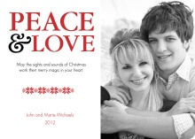 Peace and Love Christmas Photo Card