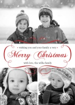 Elegant Red Script Christmas Photo Card