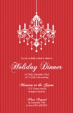 Elegant Chandelier Red Holiday Party Invitation