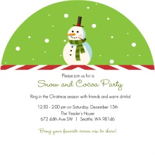 Snowman with Candy Cane Stripes Holiday Party Invitation