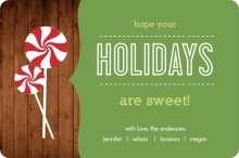 Wood Grain Peppermint Candy Holiday Card