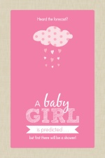 Pink and Taupe Clouds Girl Baby Shower Invitation