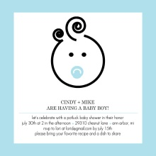 Cute Baby Face  Boy Baby Shower Invite