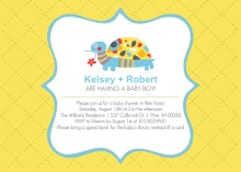 Yellow Turtle  Boy Baby Shower Invite