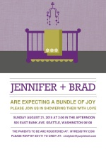 Purple Modern Nursery  Girl Baby Shower Invite