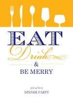 Orange Eat Drink Be Merry Party Invitation