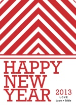 Red Striped New Years Card