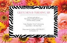 Flowers and Zebra 30th Birthday Invitation