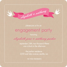 Pink Banner and Swallows Engagement Party Invitation