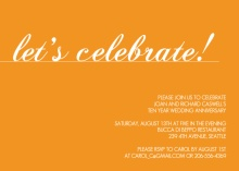Orange Let's Celebrate Wedding Anniversary Invitation