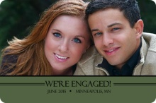 Photo Engagement Announcement with Green Stripe