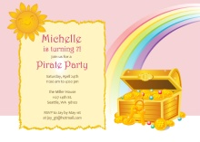 Rainbow Treasure Pirate Party Invitation