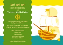 Sailing Ship Pirate Party Invitations