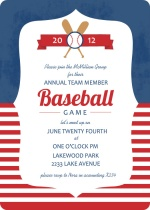 Blue and Red Striped Baseball Game Invitation