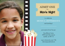 Popcorn and Ticket Photo Birthday Movie Party Invite