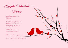 Red Love Birds Party Invitation
