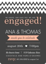 Gray and Peach Modern Chevron Engagement Party Invitation