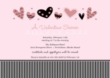 Playful Hearts and Stripes Valentine's Day Party Invitation