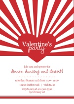 Red Bursting Heart Valentine's Day Party Invitation