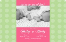 Pink and Green Dots Twin Announcement Card