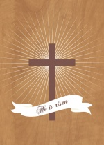 New Begining Cross with Banner Easter Card