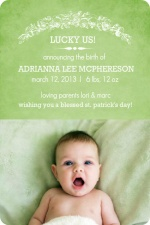Irish Luck Birth Announcement