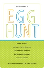 Green and Blue Polka Dots Egg Hunt Easter Party Invitatioin