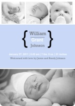 Blue Four Photo Boy Baby Announcement