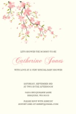 Sweet Pink Cherry Blossoms  Girl Baby Shower Invitation