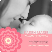 Coral Stripe Photo Girl Birth Announcement