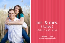 Simple Pink Stripes Engagement Announcement
