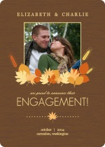 Brown Fall Leaves Engagement Announcement