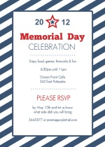 Blue Striped Memorial Day Invitation