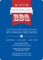 Red and White Banner Memorial Day Invitation