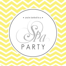 Yellow Chevron Spa Party Invitation