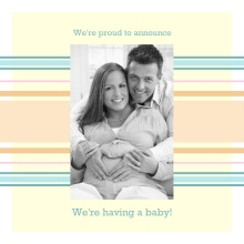 Pastel Baby Blue Stripes Pregnancy Announcement
