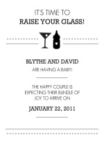 Black and White Raise Your Glass Pregnancy Announcement
