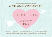 Pastel Pink and Blue Heart and Arrow 40th Anniversary Invitation