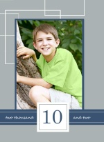 Gray And Navy Sqaures Boy Birthday Party Invitations