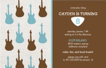 Guitar Brown and Blue Birthday Party Invitation