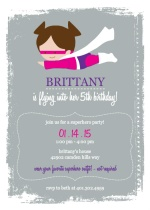 Supergirl Grey and Pink Birthday Invitation