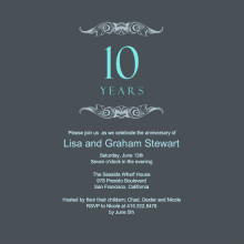 Gray and Teal Anniversary  Invitation