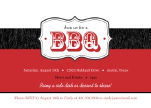 Black and Red Wood Grain and Frame BBQ Invite