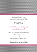 Grey Herringbone with Pink Bridal Shower Invitation