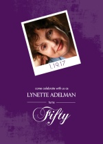 Purple Framed Photo 50th Birthday Party Invitation