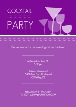 Purple Silhouette Cocktail Party Invite