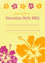 Pink and Orange Flowers Hawaiian BBQ Invitation