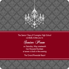 Maroon and Gray Chandelier Prom Invitation