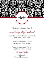 Black, Red, White Damask Prom Invitation