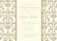 Cream and Taupe Damask Prom Invite